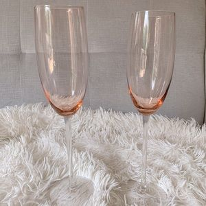 Pair of vintage pink glass champagne flutes